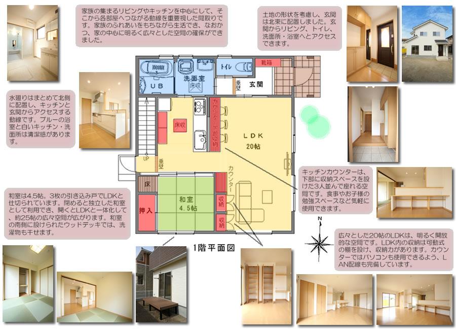 総社市駅前の家 1階平面図