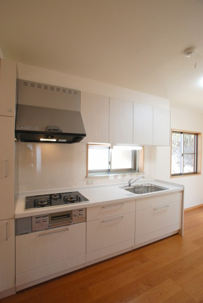 吉備中央町の平屋の家・シンプルなI型キッチン