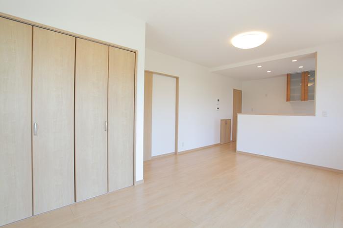 岡山市新築 丸い玄関ポーチの家 リビングルーム