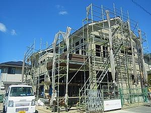 倉敷市茶屋町(鉄骨造住居)の家 外壁貼り状況